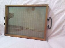 Vintage Wooden Serving Tray Glass Top Wicker Weave under Metal Handles