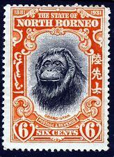 NORTH BORNEO 1931 6c. Orange & Black Orang-Utan SG 296 MINT