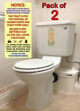 2x Waterpoof Warning Notice Sticker Signs for Macerator Toilets. Fits Saniflo.