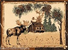2'X 4' COUNTRY THEME LODGE MAT RUG WITH A MOOSE IN PINE TREES CABIN RUG