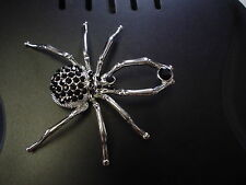 LARGE BEAUTIFUL UNIQUE SILVER SPIDER BROOCH WITH BLACK WIDOW CRYSTALS