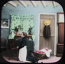 Glass Magic Lantern Slide HOPE ON - LADY PRAYING C1890 VICTORIAN TALE