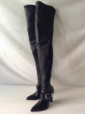 GIANVITO ROSSI LEATHER THIGH HIGH BOOTS, Black 37.5/7.5.