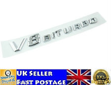 V8 Biturbo Emblem Badge ABS Chrome Mercedes AMG E G S Class 3D Logo Sticker