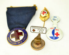 LOT OF 5 ANTIQUE & VINTAGE AMERICAN RED CROSS WWI SERVICE MEDAL & 4 LAPEL PINS