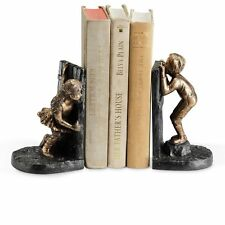 Boy and Girl Hide-and-Seek Bookends Book Ends Office & Home Cast Iron Figurine