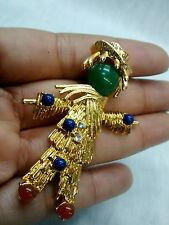 Pretty vintage JBK Jacqueline Kennedy scarecrow gold tone pin brooch