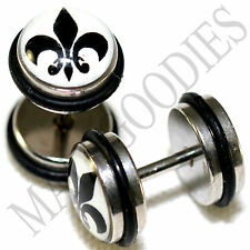 0150 Fake Cheater Faux Illusion Plugs 16G Look 0G 8mm Fleur-de-lis Flower Lily