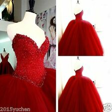 Red Beaded Quinceanera Dress Formal Ball Gown Prom Party Wedding Dresses Custom