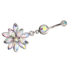 Flower Clear Cubic Zirconia Non Dangling Belly Button Rings