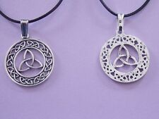 LARGE CELTIC KNOT TRIQUETRA wax Cord Necklace 46 cm extendable chain pendant
