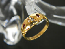 ANTIQUE VICTORIAN 15CT GOLD GARNET AND SEED PEARL RING! RING FROM 1884