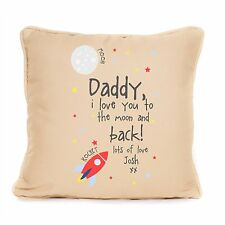 Personalised Cotton Cushion Fathers Day Gift Best Dad Love To The Moon And Back