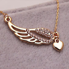 New Fashion Women Gold Plated Crystal Angel Wing Peach Heart Pendant Necklace