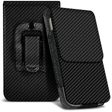 Veritcal Carbon Fibre Belt Pouch Holster Case For Samsung E1200 Pusha