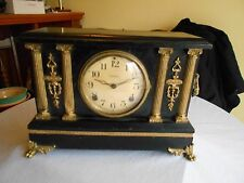 ANTIQUE INGRAHAM MANTLE CLOCK w/ornate metal accents for PARTS or repair