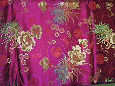 Shimmering Chinese REVERSIBLE JACQUARD BROCADE DAMASK gold blossoms on fuchsia