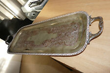 VNTAGE REAL AGE - WHITE METAL SERVING TRAY WITH EMBOSSED DESIGN - PLEASE LOOK!