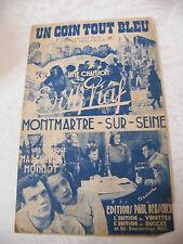 Partition Un coin tout bleu Montmartre sur Seine Edith Piaf
