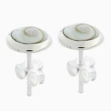 Silver Shiva Eye Shell Stud Earrings Sterling Silver 925 Best Deal Jewelry Gift