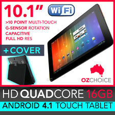 """NEW 16GB 10.1"""" ANDROID 4.1 QUAD CORE TOUCH SCREEN TABLET CAPACITIVE + CASE COVER"""