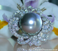 Prachtvoller 15mm Tahitiperle Ring mit Brillanten, 2,80 ct. TW-VS1 WG750 12760,-