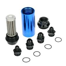 Durable 44mm Car Fuel Filter Inlet Outlet Filter With AN6 AN8 Adaptor Blue G4O7