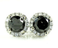 1.35ct 7mm Mens Ladies 14k White Real Gold Black Diamond Halo Earrings Studs