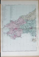 1891 LARGE VICTORIAN MAP - WALES SOUTH WEST CARMARTHEN MILFORD CARDIGAN