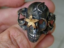 Sterling Silver Men's Ring: Sugar Skull,masonic,handmade Jewelry Biker 925 .999