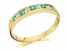 New Ladies 18ct Yellow Gold Natural Emerald & Diamond Ring Size M UK Hallmarked