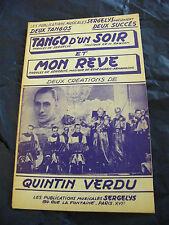 Partition Tango d'un soir et Mon rêve Quintin Verdu Music Sheet