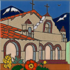 Mission San Antonio ceramic tile hand painted hotplate backsplash installation