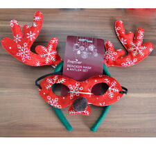 Xmas Party Reindeer Mask Antler Set Felt Rudolf Adult Ladies Kid Fancy Dress Red