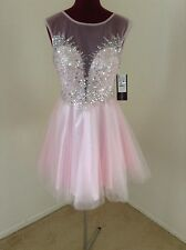 NWT Betsy & Adam RP $269 Pink/Silver Embellished Sweetheart Short Dress*Size 10