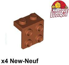 Lego - 4x Bracket 1x2 - 2x2 marron/reddish brown 44728 NEUF