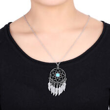 Lady Charming Chain Dangle Dream Catcher 7 Feather Sweater Pendant Necklace Gift