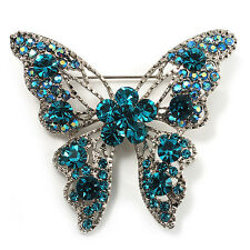 Dazzling Teal Coloured Diamante Butterfly Brooch (Silver Tone)