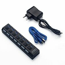 7 PORT USB 3.0 HUB High Speed With Power For PC Desktop Laptop Notebook EU