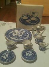 Mini Tea Set Blue Willow 10 piece set complete with lids