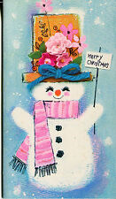 Unused Vintage Christmas Card: Snowman with Pink Scarf and Flowered Hat