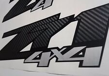 Z71 4x4 decal stickers carbon fiber and brushed chrome, silverado (set)