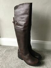 New Steve Madden Brown Leather Over The Knee Riding Flat Boots Sz 6 RRP £140