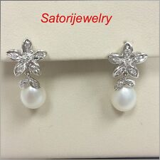 14 KT Solid White Gold Dangling Halo  Studs Earrings Flower Pearl &Diamonds New