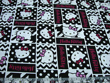 1 Yard Quilt Cotton Fabric- Springs Hello Kitty Faces Patch Black White Magenta
