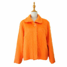Orange mohair wool fashion short women long sleeves Jacket Coat.Size S M.Y610210