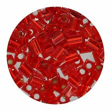 Square Glass Beads Japan 4mm Miyuki Cube Silver Lined Red