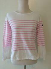 Saint James Breton Stripe Top Cropped 3/4 Sleeve Pink White size 4 XS