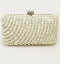 Silver Cream Pearl and Crystal Beaded Clutch