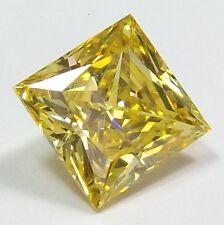Yellow Canary Russian CZ Square princess cut 11x11mm. loose gemstones.